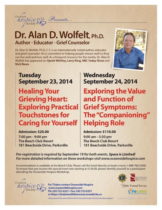 Dr Alan Wolfelt Presentations 2014